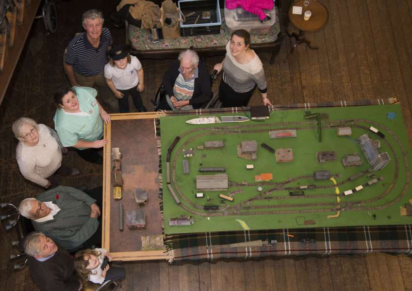 Stowlangtoft Hall Nursing Home helpers, residents and staff with the train layout.''Picture Mark Westley ANL-150311-233739009