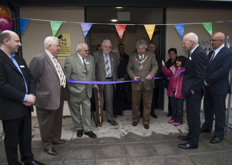Official opening of the new St John's Community Centre. 'Cllr Andy Drummond, chair of Forest Heath District Council, cuts the ribbon with Keystone Trustee Clive Wadham-Smith ANL-150317-231948009
