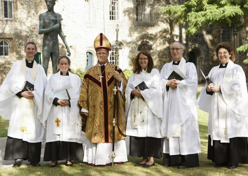 The five new priests ordained by the Rt Rev Martin Seeley, Bishop of St Edmundsbury and Ipswich