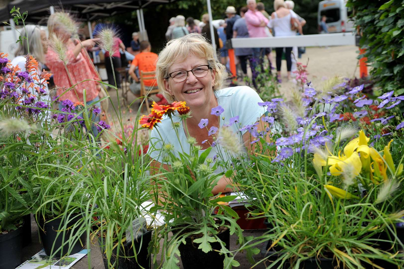 Clare Priory Craft Fair 2019..Pictured: Geraldine Arnold with her plant stall 'Paugers Plants'...PICTURE: Mecha Morton. (13785395)