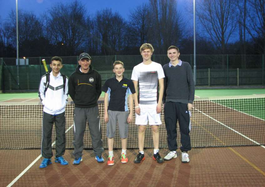 Haverhill Tennis Club's boys team, winners of the Halstead Winter League title: From left; Andreas Kitsis, Rob Jeffs (coach) Greg Birch, Sam Howard and Sam McDonald. ANL-150420-142241002