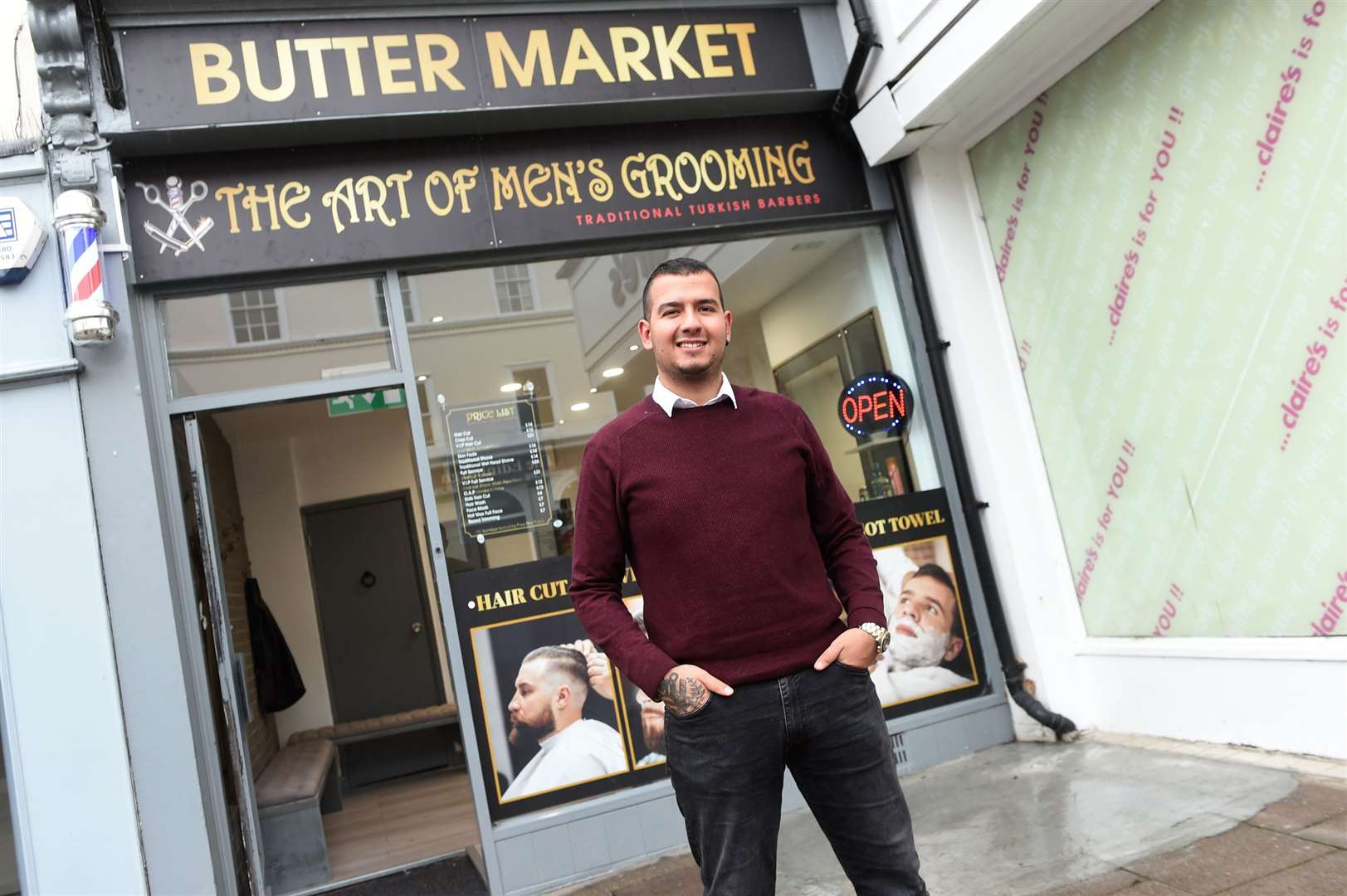 Izzy Yildirim has just opened Buttermarket Barbers	Picture by Mecha Morton
