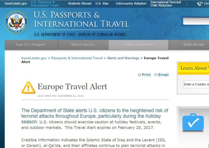 The US State Department's European travel alert on its website ANL-161122-144146001
