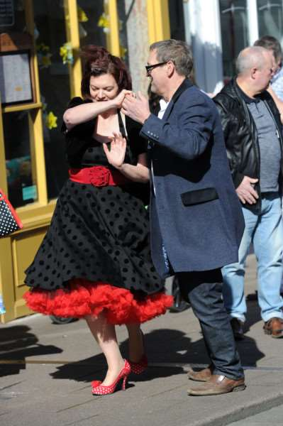 Jiving in St John's Street as part of Pocket Watch & Petticoats' anniversary celebrations