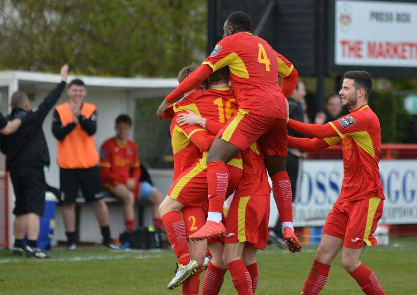GOOD RESULT: Needham celebrate their 2-0 win over Dorking Wanderers. Picture: Ben Pooley