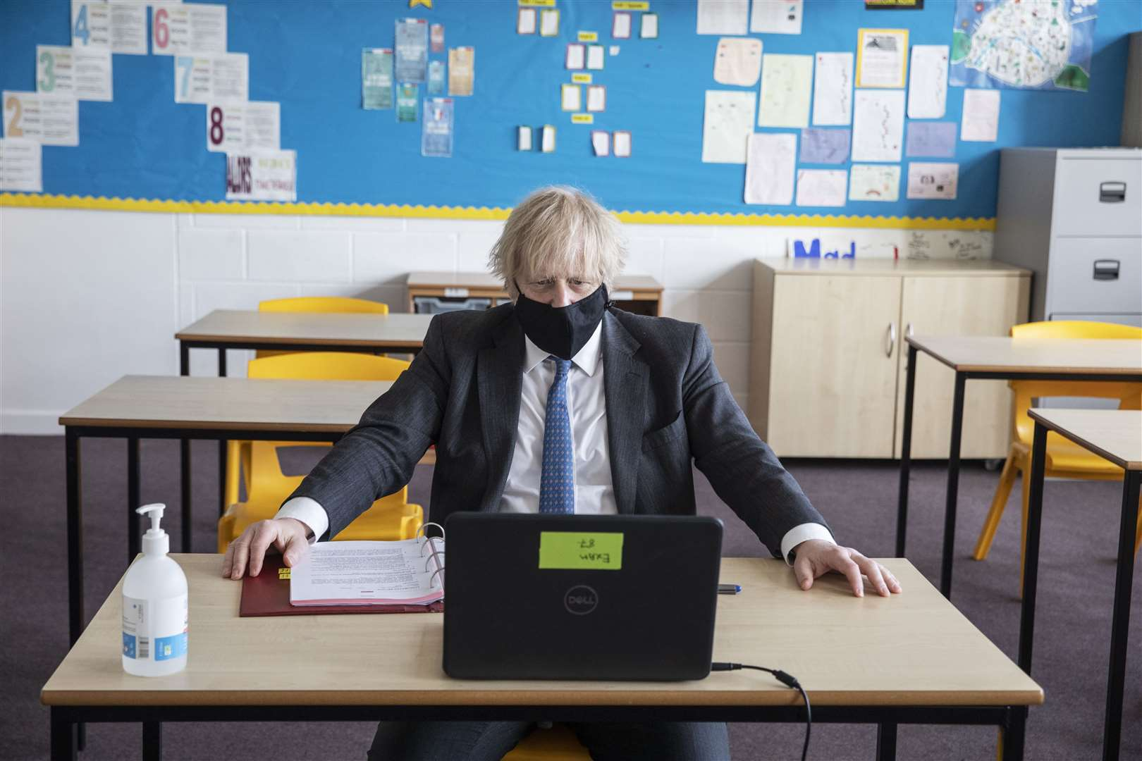 Prime Minister Boris Johnson takes part in an online class during a visit to Sedgehill School in Lewisham, south-east London (Jack Hill/The Times/PA)