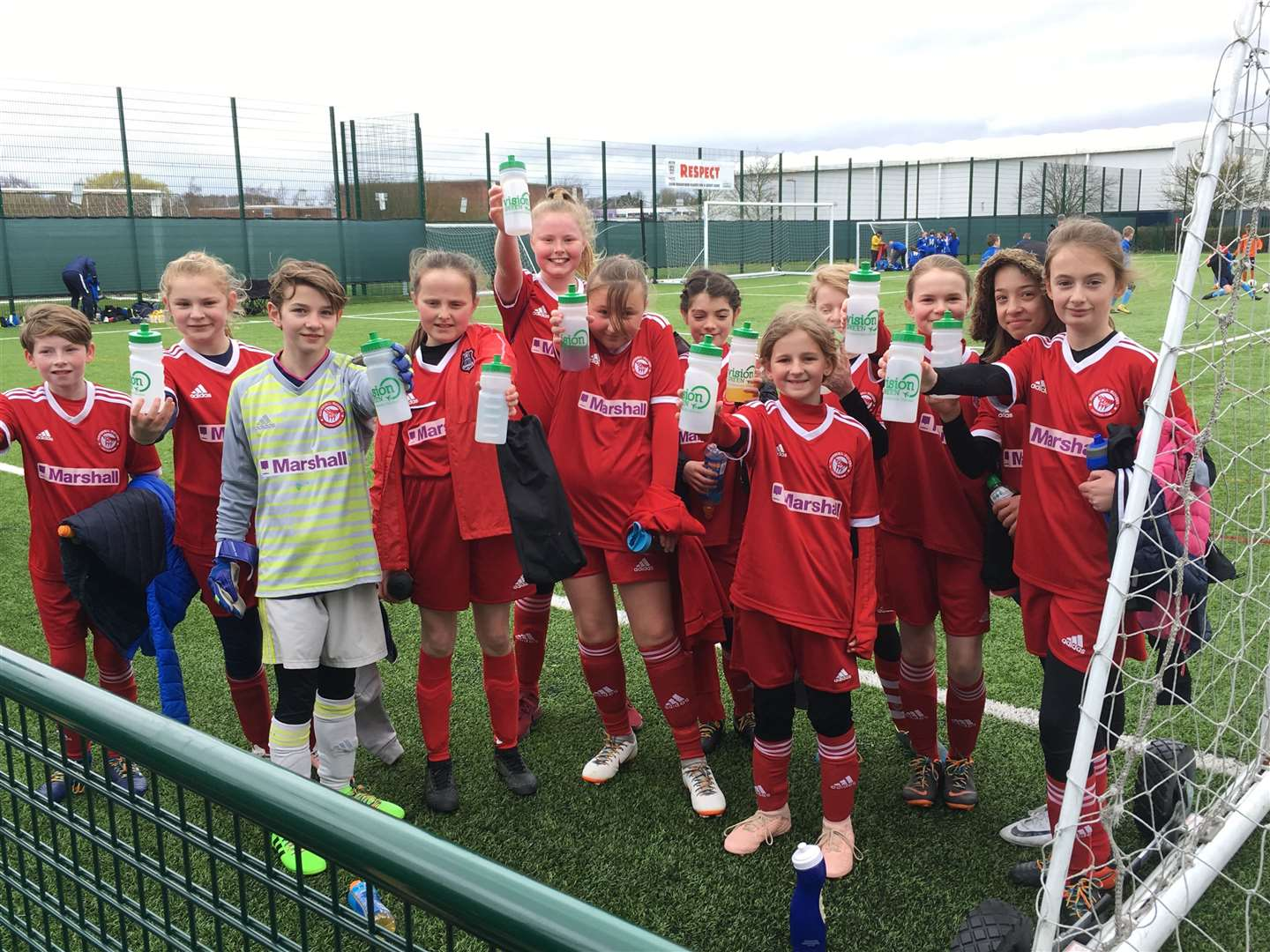 Haverhill Rovers U12 Girls team with their new water bottles (9595310)