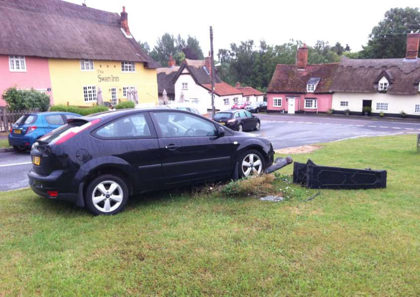A car demolished a historic parish pump in Monks Eleigh last week. Picture by Julian Bissett ANL-150720-101805001