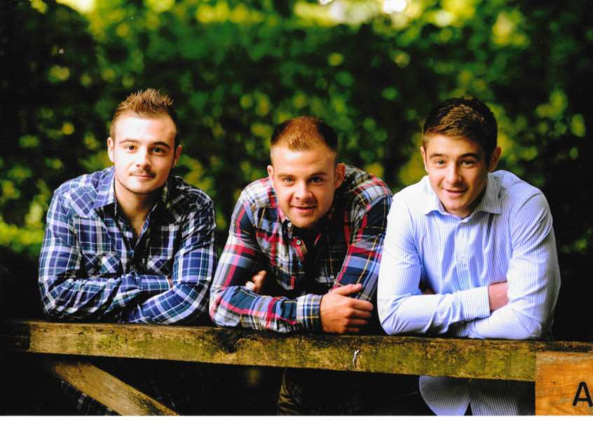 Sheila Brown's grandsons Luke, Nick and Royal Marine Sam Brown ANL-150707-112122001
