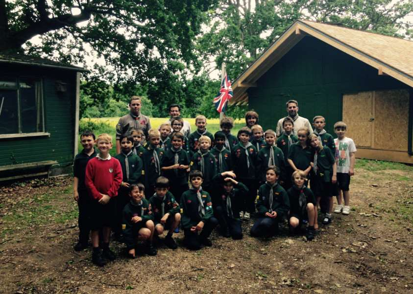 1st Horringer Scout Group pictured after completing stage one of its new sustainable scout hut build