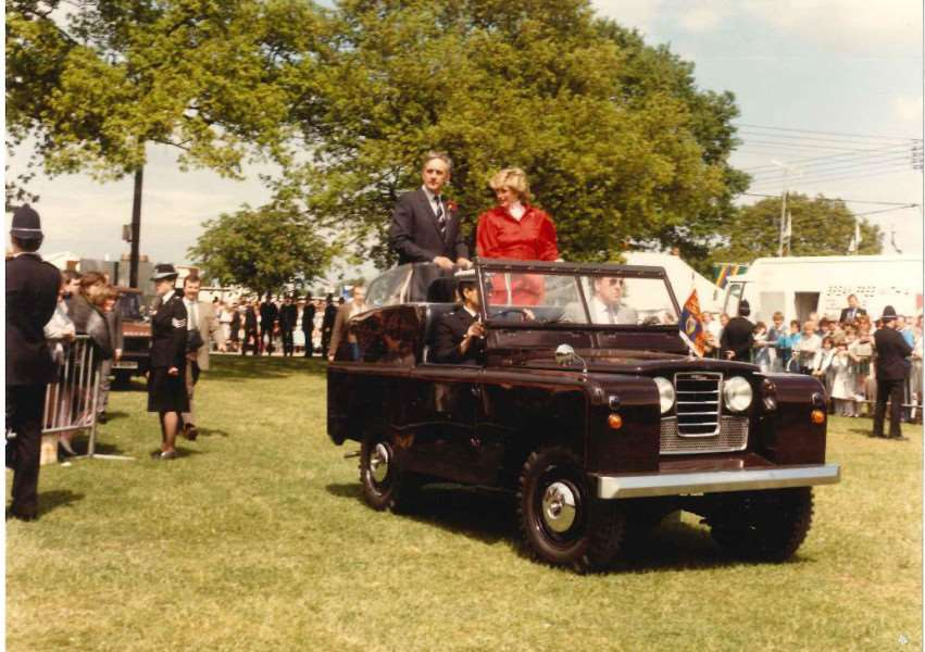 Dennis Dyball pictured in a Land Rover with Princess Diana at the Suffolk Show in 1986 ANL-161010-113716001