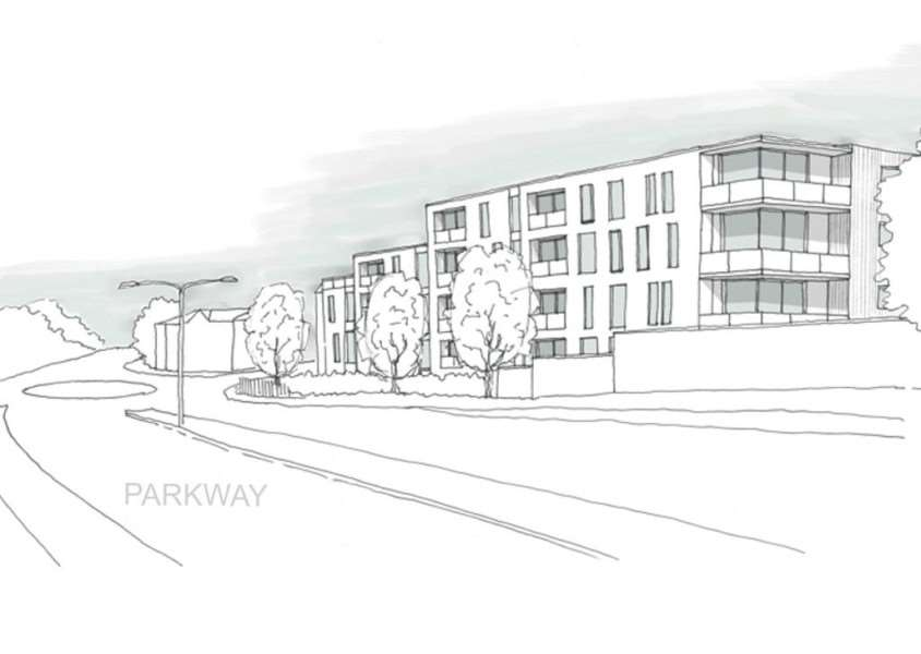 An artist's impression of flats on the corners of Risbygate Street and Parkway viewed from Parkway'Picture: Brown & Co