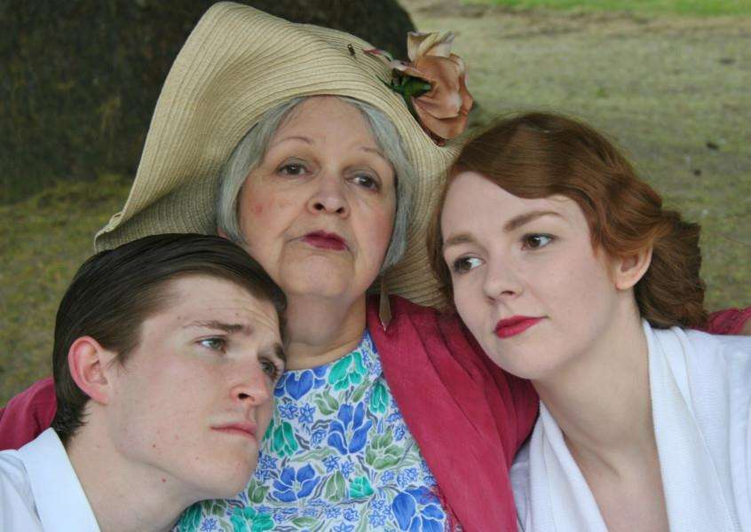 Charlie Easdown (Simon Bliss), Gayle Wade (Judith Bliss) and Julia Harman (Jackie) in the Bury Theatre Workshop's production of Hay Fever, by Noel Coward. ANL-150406-094126001