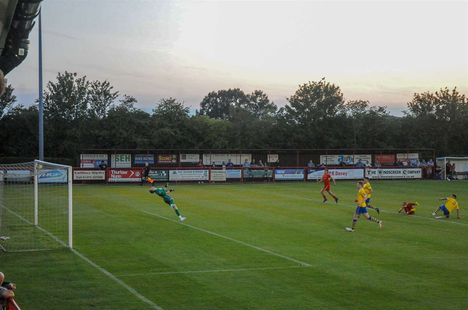 AFC Sudbury are heading to Needham Market this weekend for their last pre-season friendly. Pictured is Craig Parker scoring for Needham in last summer's pre-season match between the two at BloomfieldsPicture: Ben Pooley