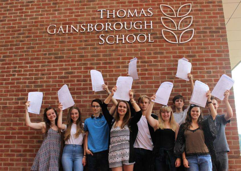 Pupils at Thomas Gainsborough School in Great Cornard hold their results aloft. ANL-160825-120248001