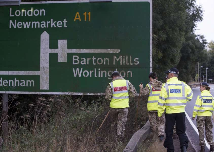 Police and RAF teams search the A11 for Corrie's phone 'Picture Mark Westley ANL-160610-124420009