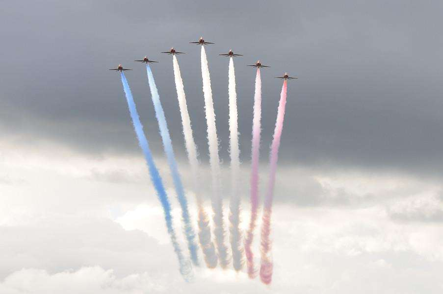 The Red Arrows Aerobatic Team at RAF Feltwell's July 4 celebrations ENGANL00120121107164417