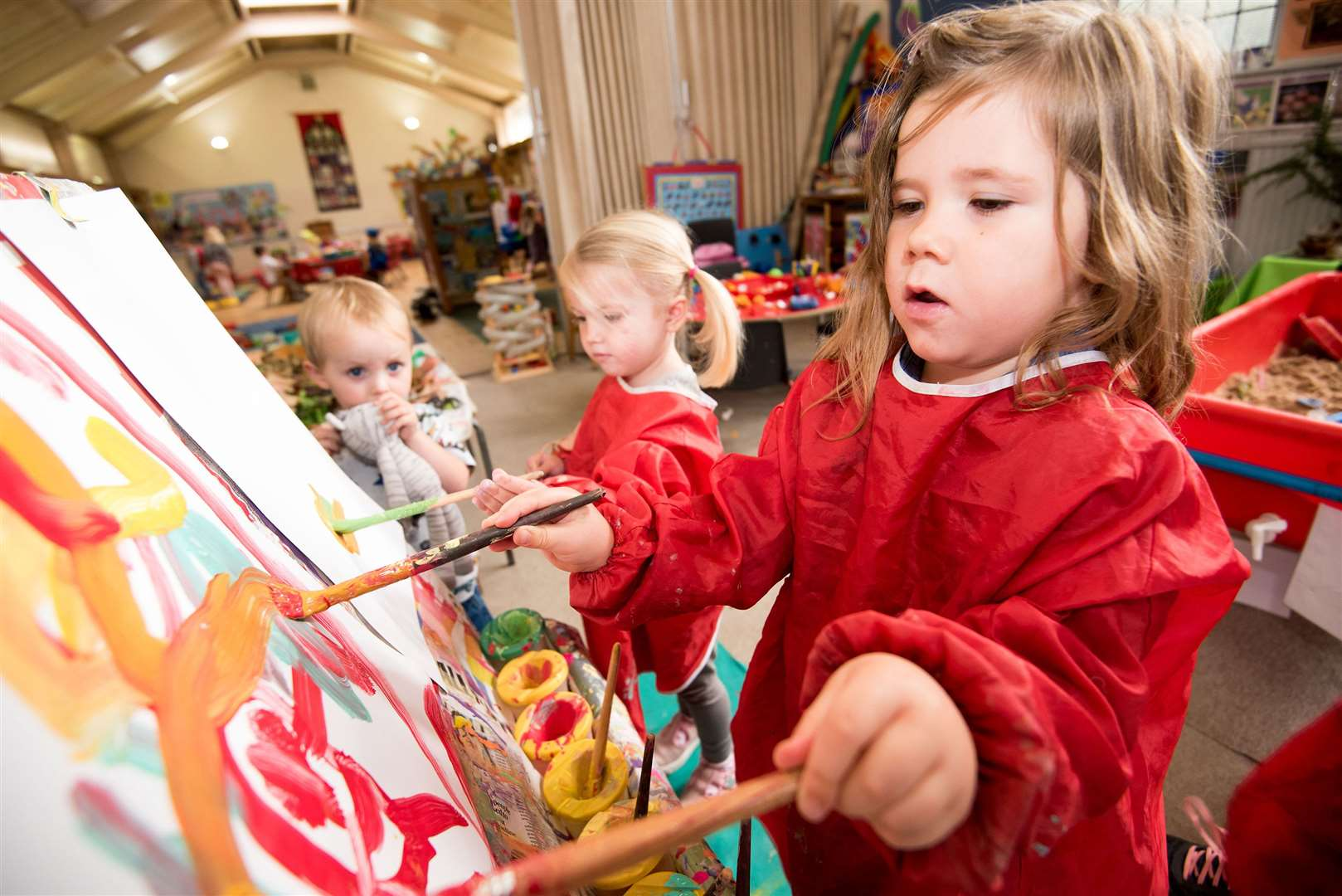 SUDBURY.Playbox pre-school, St John's Church Community Centre, York Rd, Sudbury.Children at Playbox pre-school making autumn-themed collages. Picture by Mark Westley. (18275381)