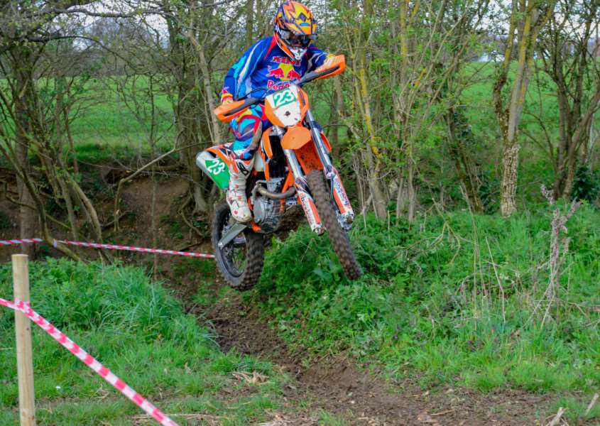 FLYING THROUGH: Alex Barkshire (Diss) tears his way around the course