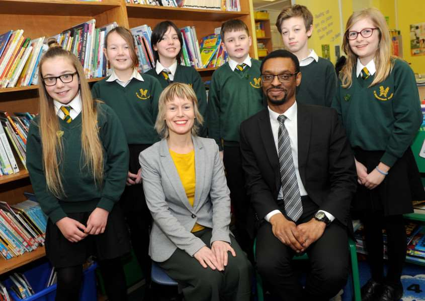 Shaun Valentine is the new headteacher at St Edmundsbury Primary School. ''Pictured: New Headteacher Shaun Valentine and deputy head Lyndsey Allsopp with some Year 6 pupils. '''PICTURE: Mecha Morton