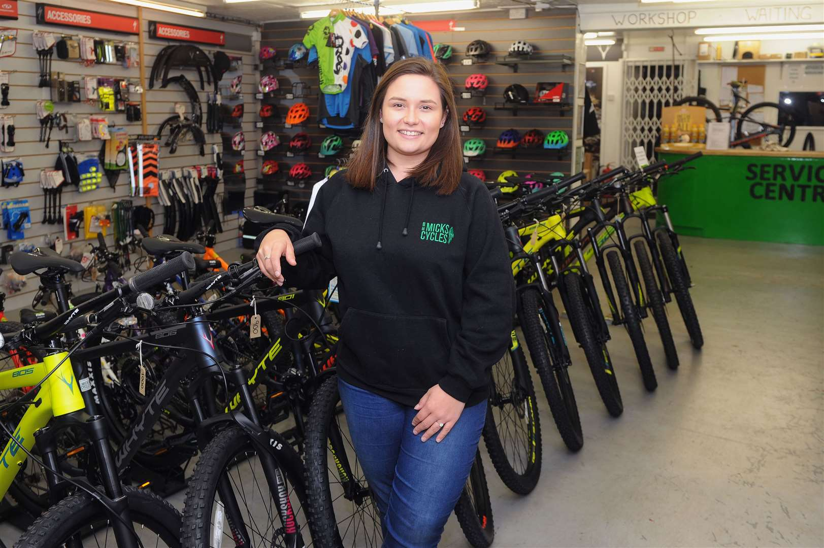 Chloe Hailstone said cyclists are welcome to leave their bikes inside Micks Cycles, where she is manager	Picture by Mecha Morton