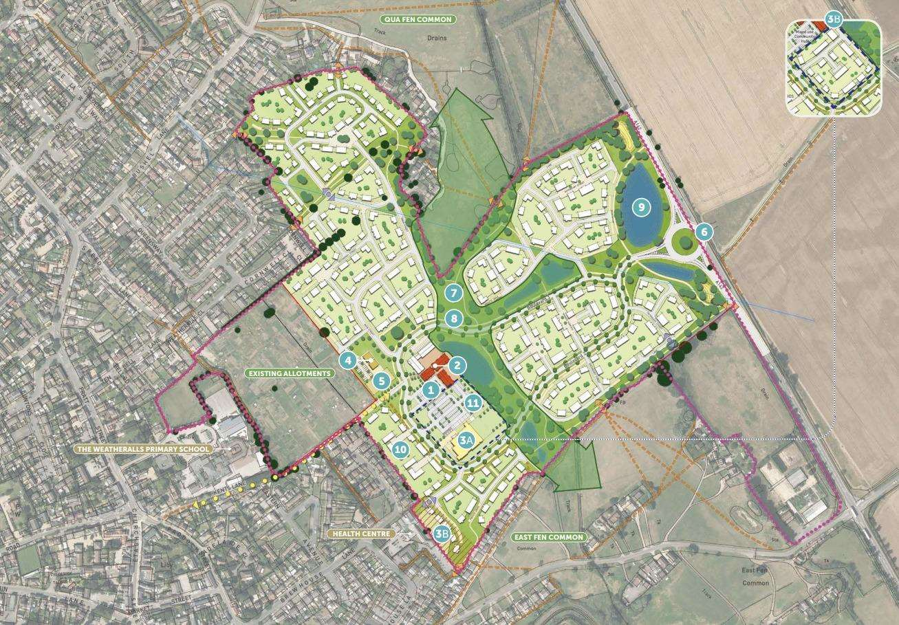 Soham's Eastern Gatway plans show just one vehicle access point, by the A142 (3309782)
