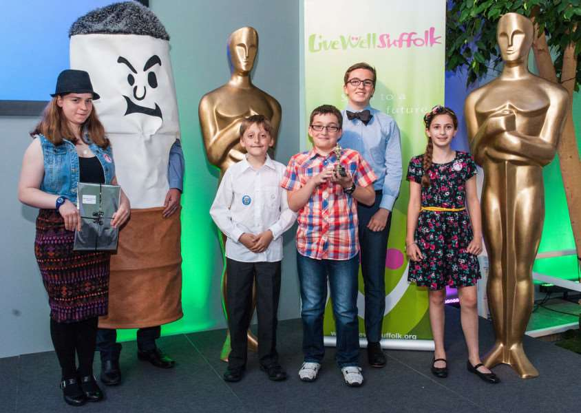 Young film makers from Sudbury and Great Cornard celebrate winning top prize in a local competition. ANL-150722-115010001