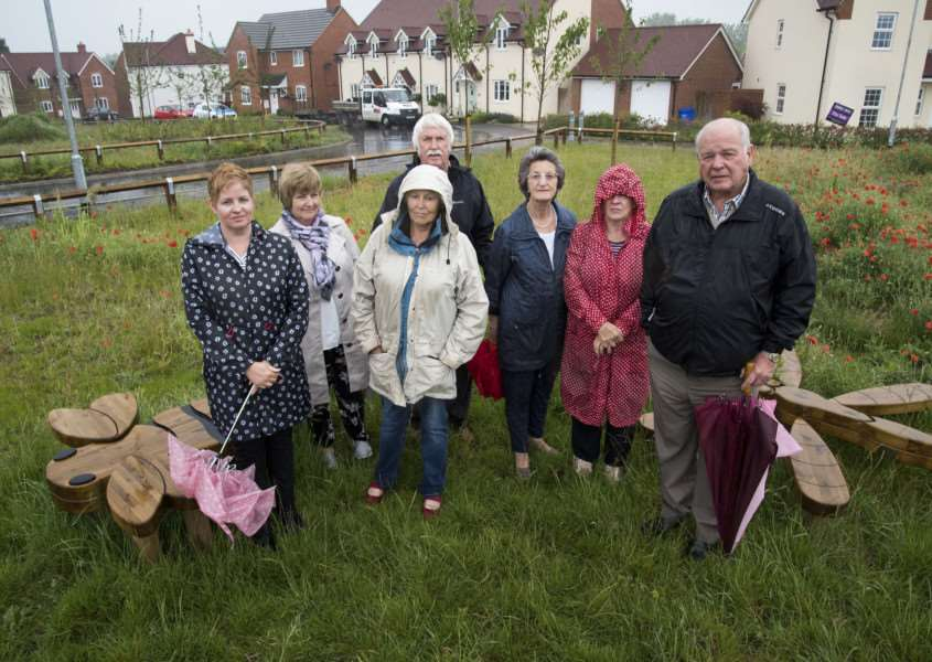 Parish councillor Brian Brown, right, and other Mill View residents are pushing to get play areas properly finished