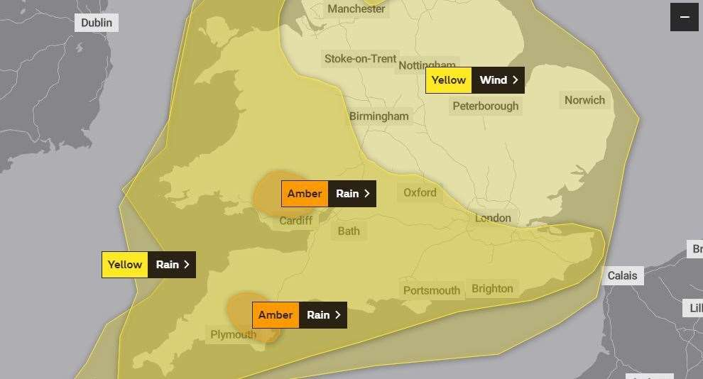 The Met Office has yellow and amber warnings in place (29200851)