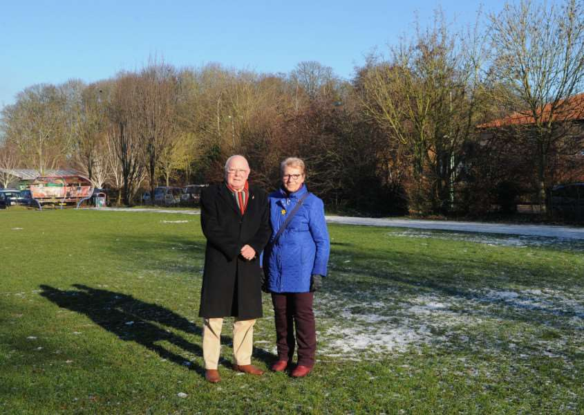 Car park off Symonds Road in Moreton Hall, where new spaces are being made Pictured: Cllr Frank Warby and Cllr Patricia Warby in the area where the new spaces are going to be PICTURE: Mecha Morton PICTURE: Mecha Morton