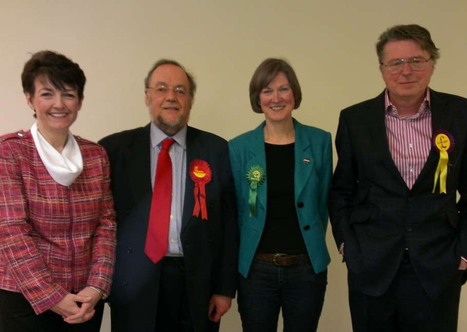 Jo Churchill (Conservative), William Edwards (Labour), Dr Helen Geake (Green Party) and John Howlett (UKIP) at their first hustings at Bury St Edmunds Youth Forum. ANL-150204-103824001