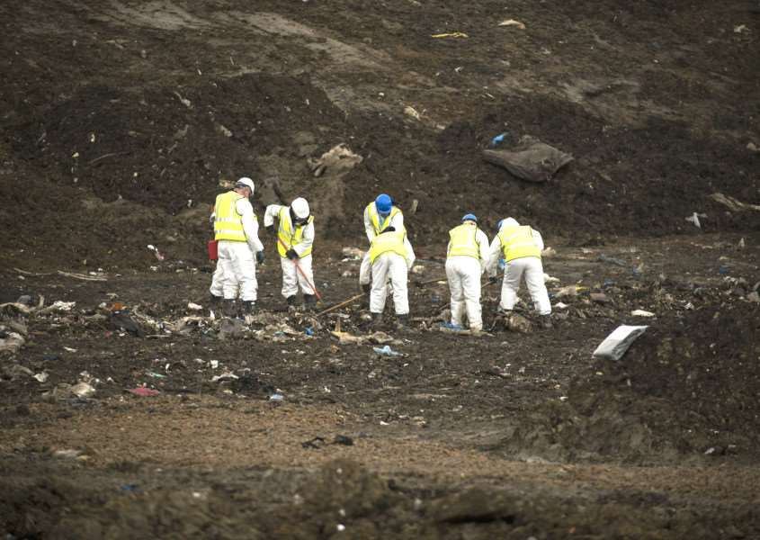 A Suffolk and Norfolk Police team searching the Milton landfill site for Corrie McKeague's remains