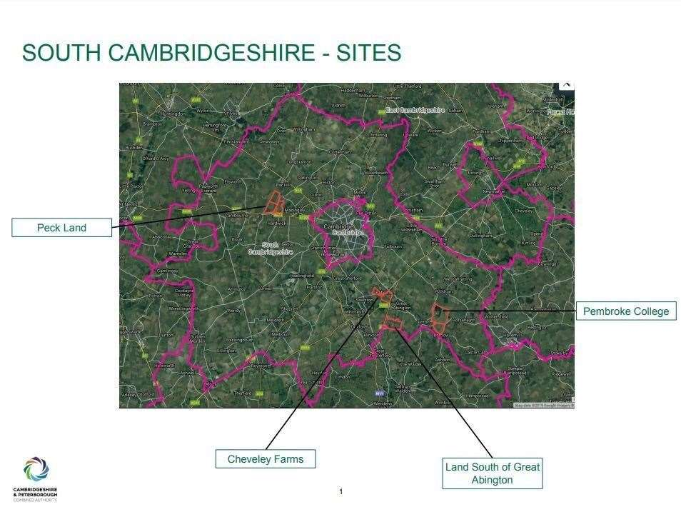 A map showing the four proposed locations in South Cambridgeshire for garden villages