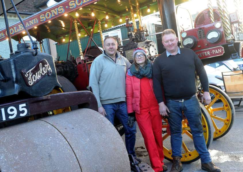 Long Melford Olde Christmas''Pictured: John Murdy, Mandy Hartley and Simon Webb with their Steam Engines'''PICTURE: Mecha Morton