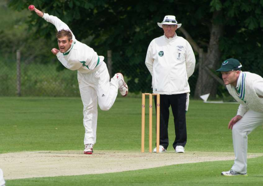 STAR MAN: Michael Rippon bowling for Woolpit