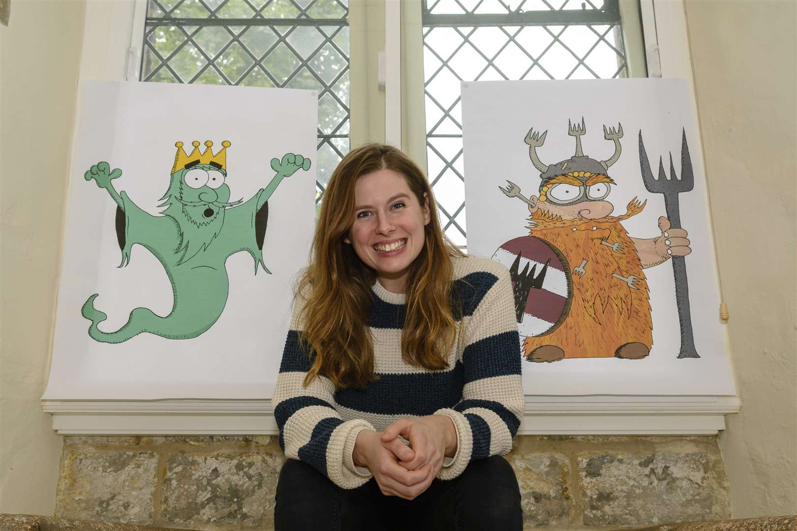 Bury St Edmunds, Suffolk, UK, 06 November 2018..Hatty Ashton of Bury St Edmunds with her characters Ghosty Ed and Forkbeard from her new book called Forkbeard and the Ghost King which is set at Moyse's hall, illustration by Joshua Rosewarn...Picture: Mark Bullimore Photography. (5258584)
