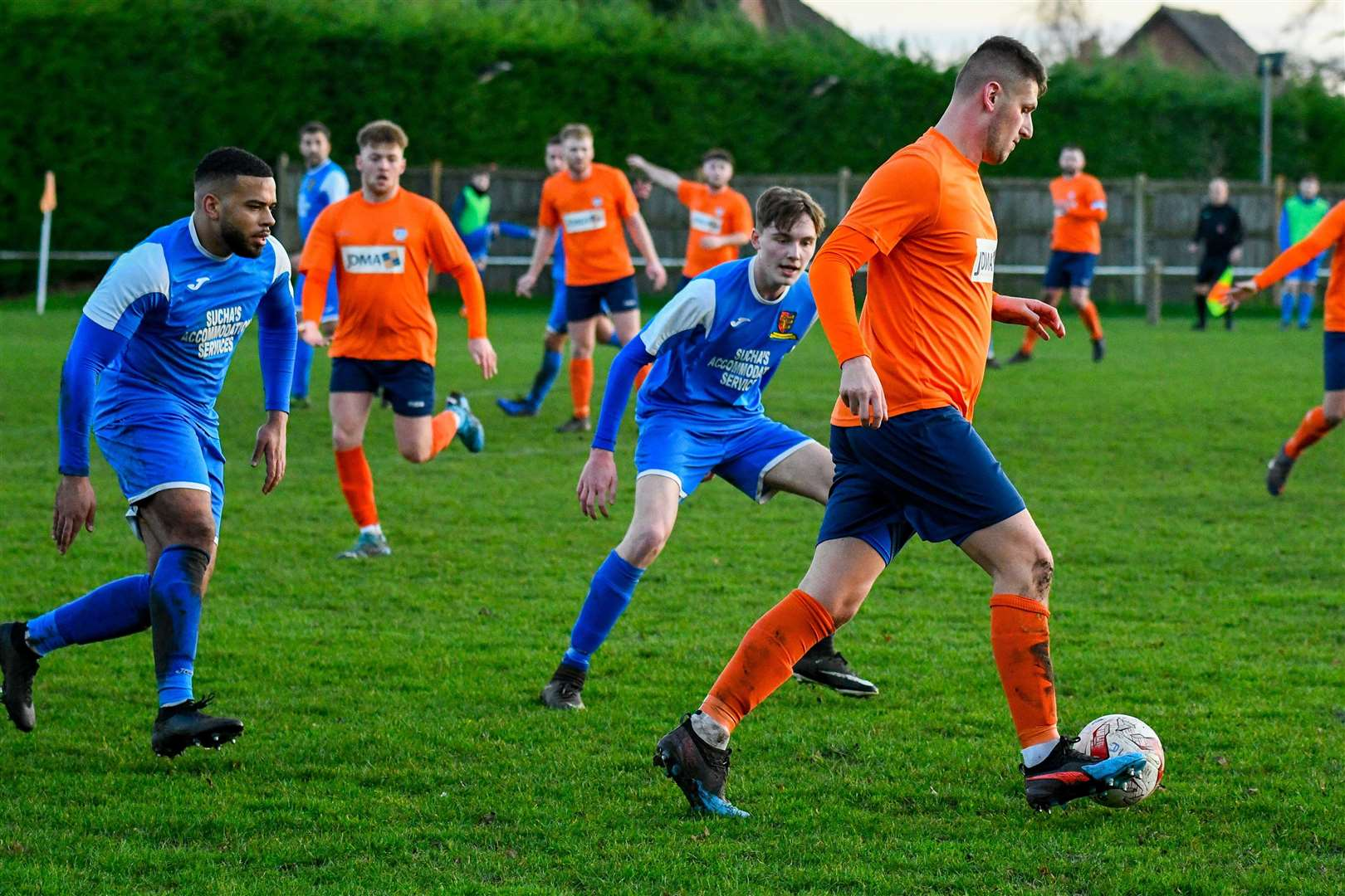 04/01/2020. Diss, UK. Football action from Diss Town v Ipswich Wanderers - Ryan Fuller..Photo by Mark Bullimore. (25911544)
