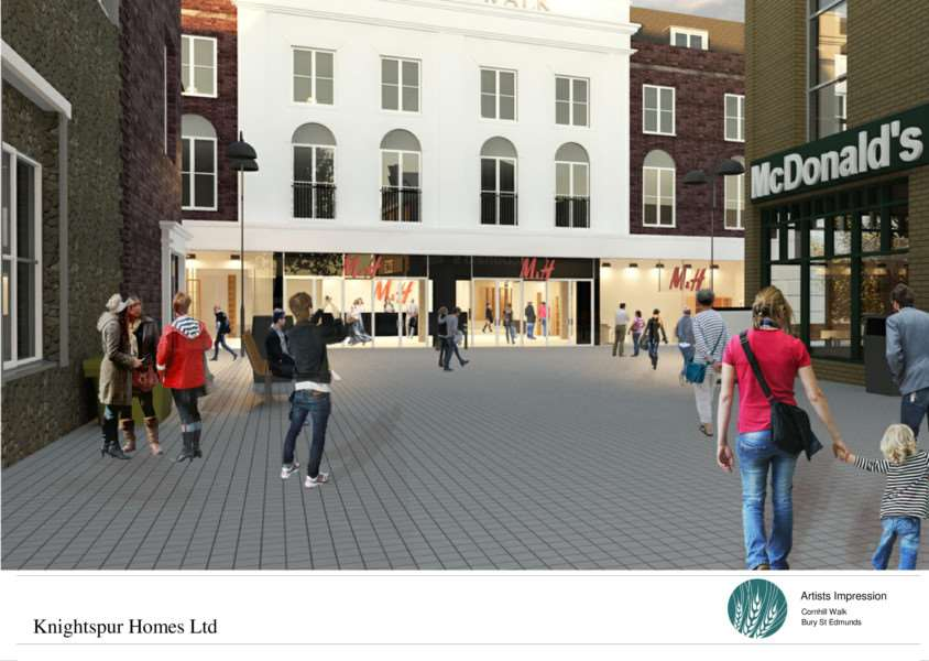 Computer images of how developers would like Cornhill Walk in Bury St Edmunds to look