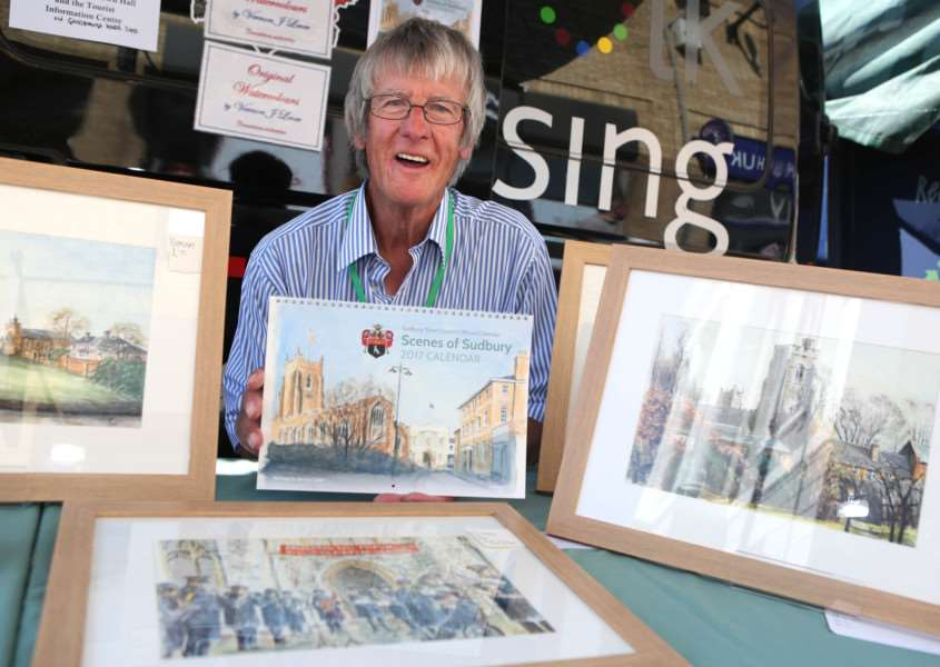 Vernon Lever with his Scene of Sudbury calender and some of the original paintings.'Pic - Richard Marsham ANL-160723-175821009