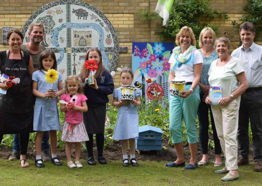 The launch of the Kids Crafty Can competition at the new bee friendly garden in the Abbey Gardens - Picture by Bury in Bloom Photographer Sandy Miles ANL-160207-121416001