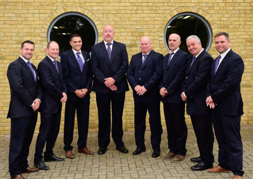 The eight site managers from Taylor Wimpey East Anglia who were honoured with the Pride in the Job Quality award by the National House- Building Council