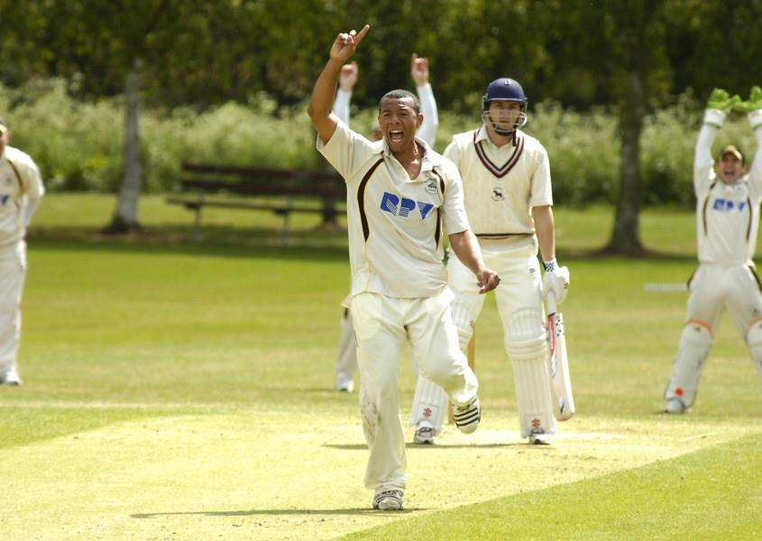 MAKING A RETURN: Tymal Mills, pictured appealing for a wicket while playing for Mildenhall in 2011