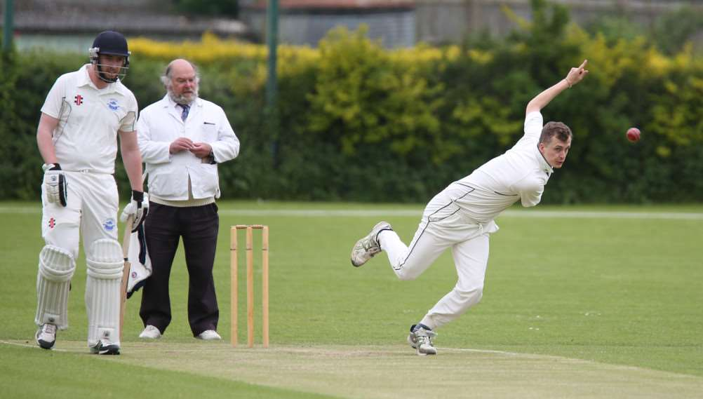 Joe Woodley bowls for Haverhill against Ipswich. 'Pic; Richard Marsham ANL-150523-201450009