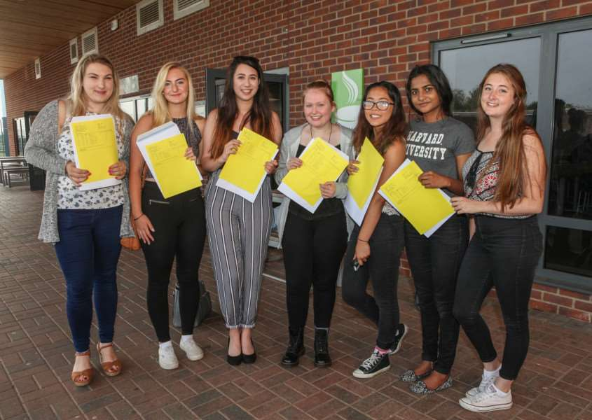 Samuel Ward Academy students collect their AS level results. Picture: Russ Bennett ANL-160818-134126001