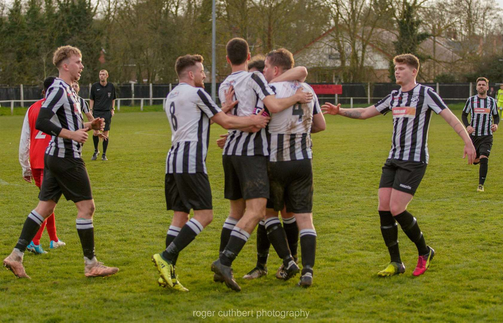 Halstead Town players celebrate Gary Burdett's first Humbugs goal to put them 2-0 up against Lopes Tavares Picture: Roger Cuthbert (7542653)