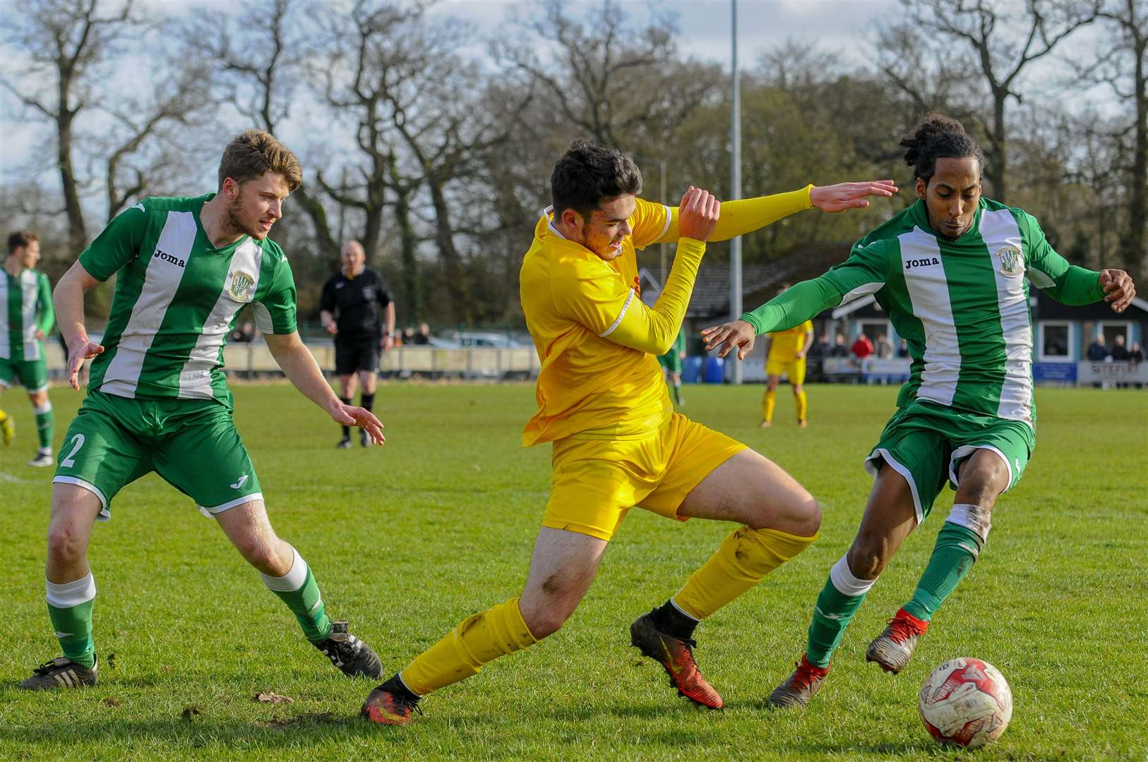 Action from Saturday's Thurlow Nunn League Premier Division clash between Walsham-le-Willows and Whitton United. The Thurlow Nunn League has leagues at Steps 5 and 6.