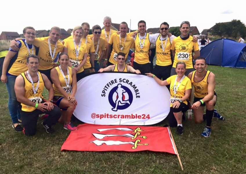 SCRAMBLE SQUAD: Halstead's two teams which took part in the Spitfire Scramble at the weekend