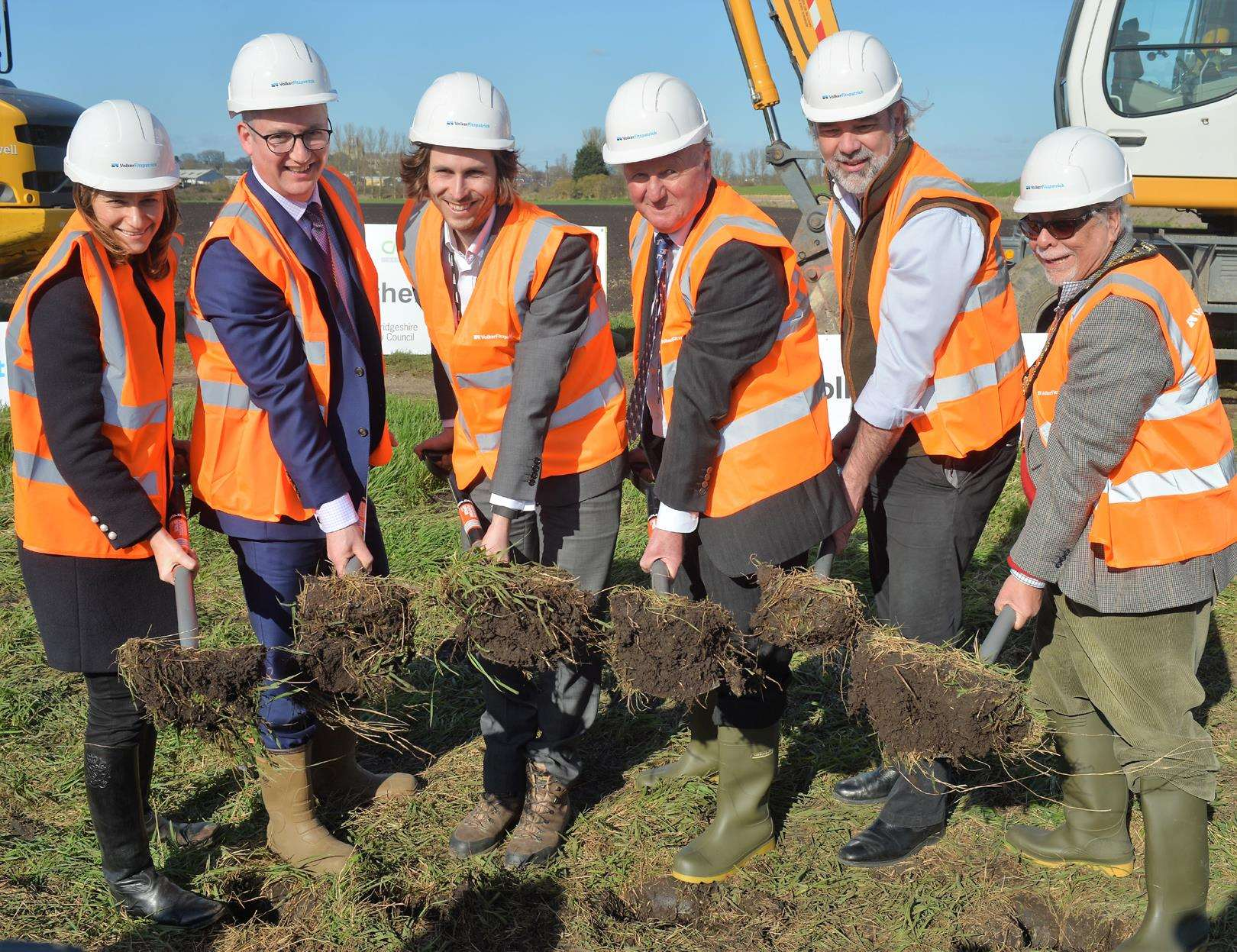 Work started on the bypass on March 3 2017. Pictured, from left, are:Lucy Frazer MP, Cllr Sebastian Kindersley, Nick Eddy Network Rail, Sir Jim Paice, Mark Reeve, and Cllr Michael Allen East Cambs District Council (4751947)