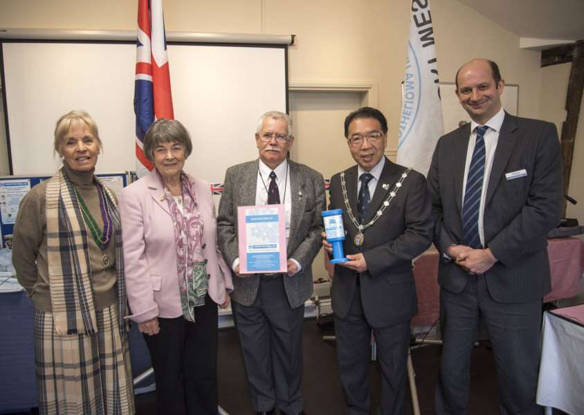 Forest Heath acting chair Cllr Carol Lynch, Baroness Howarth of Breckland, St Edmundsbury Mayor Patrick Chung, Mesothelioma UK ambassador Brian Wallis and Richard Foyster from Ashtons at the launch ANL-160421-152235009