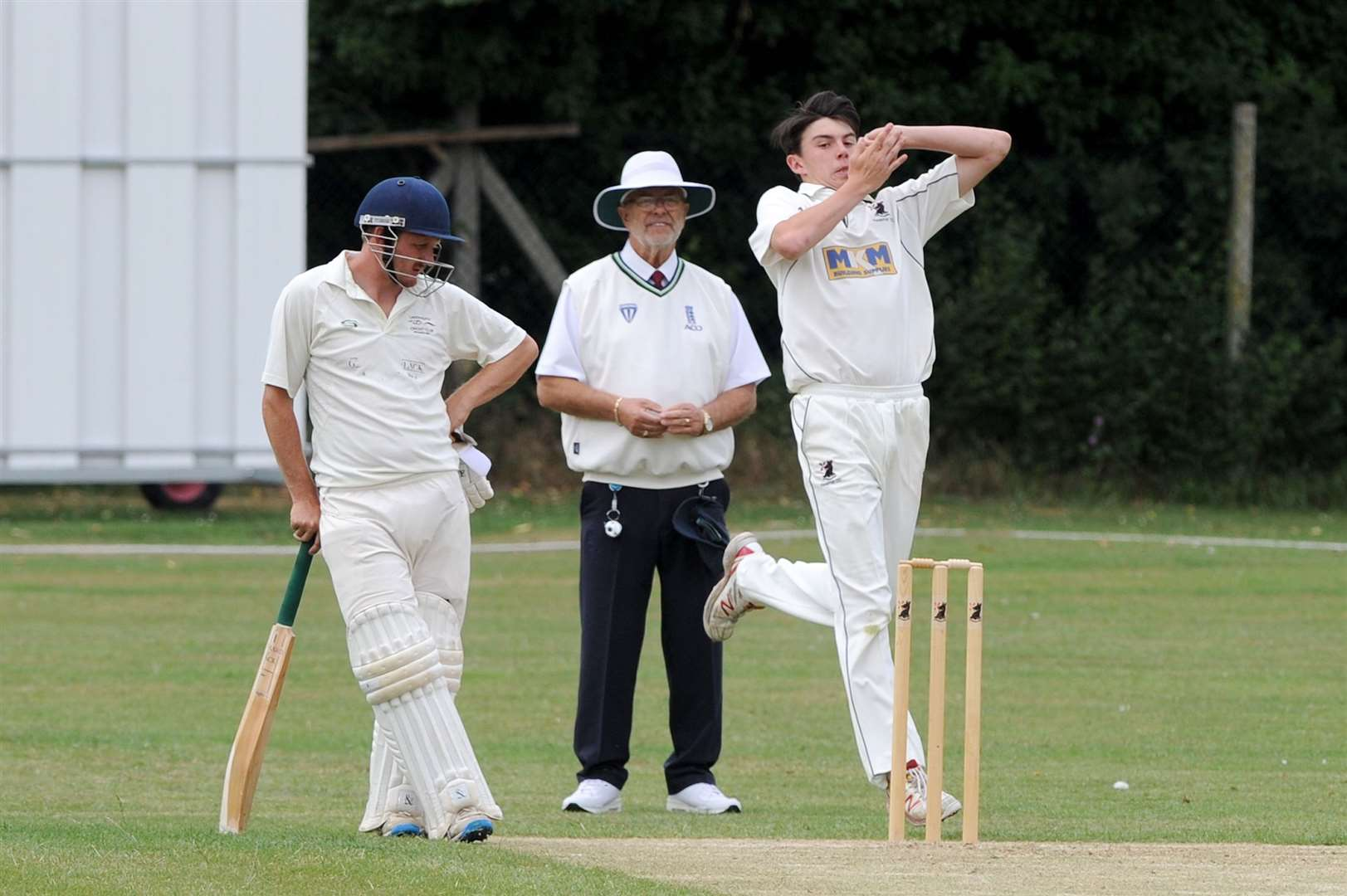 CRICKET - Haverhill (Bowling/Fielding) v Lakenheath (Batting) ..Pictured: Harry Harding bowling...PICTURE: Mecha Morton. (40688118)